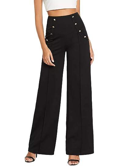 0e086f3fa43 DIDK Femme Pantalon Unicolore avec Double Bouton Pantalon Large Taille Haute  Classique Fermeture à glissière arrière Noir  Amazon.fr  Vêtements et ...