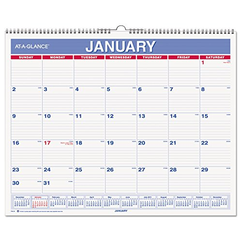 "AT-A-GLANCE Wall Calendar 2017, Monthly, 14-7/8 x 11-7/8"", Wirebound (PM8-28) Pack of 2"