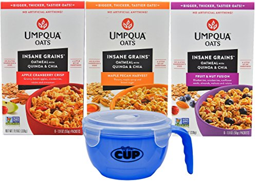 Umpqua Oats Insane Grains Variety - 6 of each flavor Apple Cranberry, Fruit & Nut, and Maple Pecan, 1.9 Ounce Pouches (Pack of 18) - with an exclusive By The Cup Microwavable Bowl - Each Flavor