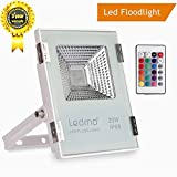 RGB LED Flood Lights, 20W RGB LED Floodlight, Waterproof Outside Landscaping Construction Spot Light, Outdoor Color Changing LED Security Light With Remote Control,Wall Washer Light