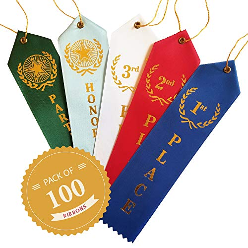 Premium Award Ribbons - 100 Count Value Bundle - 20 Each 1st, 2nd, 3rd, Participation Award Ribbons & Honorable Mention Ribbons - Event Cards & Strings Included -