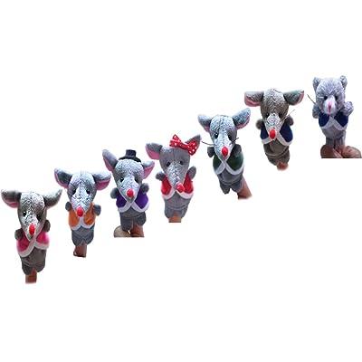 Marionnettes à Doigt en Peluche de Motifs Divers pour Enfants - 7pcs, Souris à Tourner