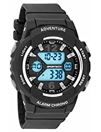 Unisex Watches by Sportech - Black and Mettallic Silver Active Digital Sport Watch - Make Every Second Count - SP12501