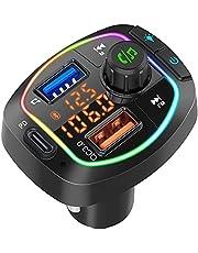 [Versão 2021] Transmissor FM Bluetooth com visor duplo para carro Bluetooth 5.0, carregador rápido 6W PD e QC3.0, reprodutor de música viva-voz para carro, adaptador de rádio Bluetooth 2 USB + Tipo C de carga rápida de 20 W, unidade flash de disco U compatível com visor de tensão do carro gratuito Retroiluminação LED de 6 cores do kit para automóvel
