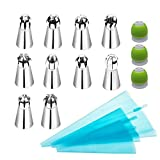 LOHOME Russian Piping Tips 16-pieces Set - 10 Spherical Pastry Nozzles [304 Stainless Steel] + 3 Reusable Couplers + 3 Sizes Reusable Silicone Pastry Bags - Cake Decorating Tools (Russian Piping Tips)