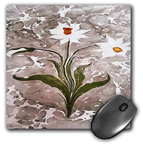 - 3dRose Taiche - Acrylic Painting - Narcissus - Narcissus On Marble - Mousepad (mp_252000_1)