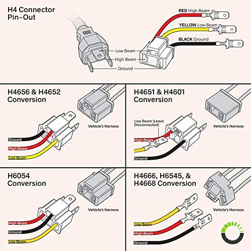 Amazon.com: 2pc H4 (9003/HB2) Headlight Socket Converter Kit [FOR H4652,  H4656, H4666, H6545] [Plug and Play] Head Light Wiring Harness Connector  Plug: AutomotiveAmazon.com