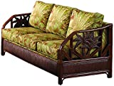 Hospitality Rattan 401-1365-TCA-S Cancun Palm Upholstered Rattan & Wicker Sofa, Sunbrella Canvas Spa