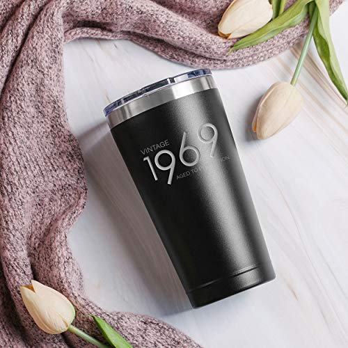 1969 50th Birthday Gifts for Men and Women Black 20 oz Insulated Stainless Steel Tumbler Mom Dad Wife Husband Present 50 Year Old Presents Party Decorations Supplies Anniversary Tumblers Gift th