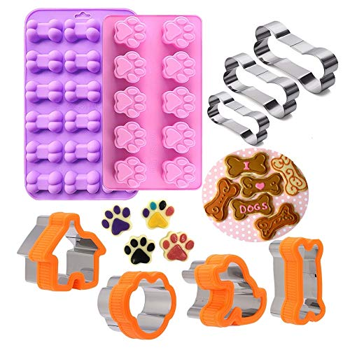 Dog Bone Cookie Cutter,Dog Treat Molds,Stainless Steel Paw Cookie Cutters Set,Including Puppy and Dog House Dog Bone shapes and Food Grade Dog Paw and Bone Silicone Puppy Treat Molds 9 Pack ()
