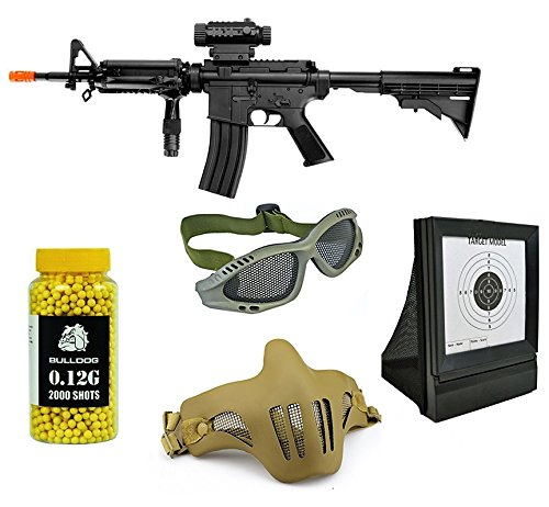 A&N Pack of 5 Airsoft Bundle Deal- Fully Automatic Airsoft Electric Rifle - Protective Mesh Mask - Protective and stylish goggles (in green frame) - Light weight Airsoft Net Target- Pack of 2000 BB's