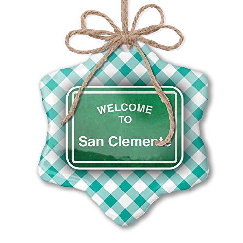 NEONBLOND Christmas Ornament Green Road Sign Welcome to San Clemente Pastel Mint Green Plaid