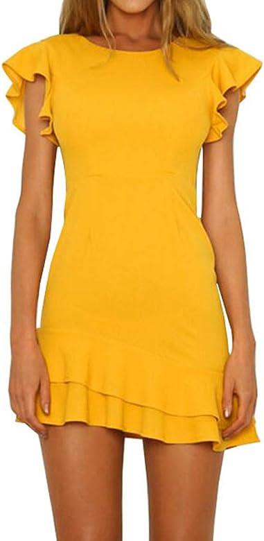 Slyar Vestido Verano Mujer 2019 De Color SóLido Falda Sin Espalda ...