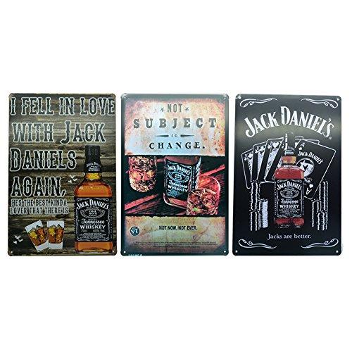 "3 Pieces Jack Daniels Retro Tin Metal Signs, 8""x12"" each Decorative Posters (3pcs - style 1)"