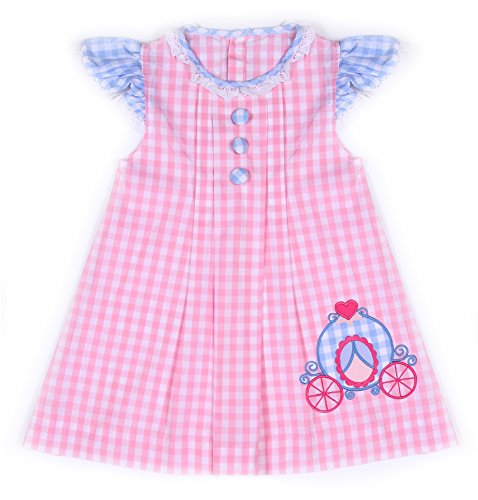 Babeeni Baby Girls Appliqué Dress with Angel Sleeves for Valentine (3Y) -