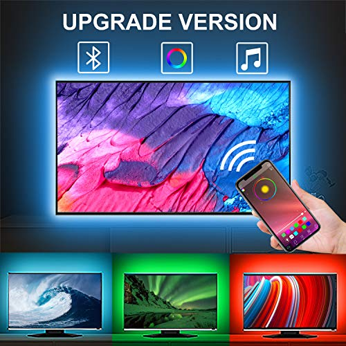 LED Strip Lights, 6.5ft USB TV led Backlight, APP Control Sync to Music, Bias Lighting, Flexible Color Changing RGB 5050 Waterproof LED Strip Lights for 24