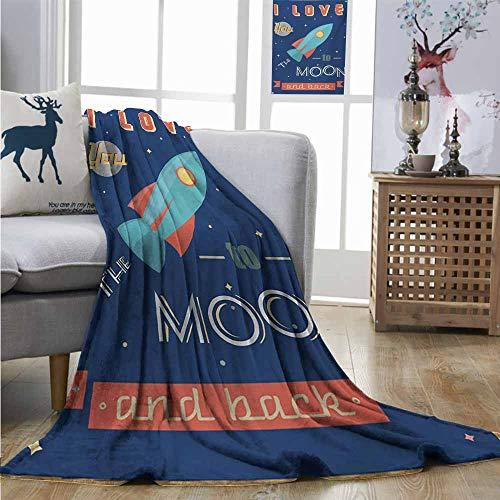 Homrkey Digital Printing Blanket I Love You Spaceship Galaxy Stars Cosmos Love Theme Retro Inspirational Letters Blanket for Sofa Couch Bed W51 xL60 Dark Blue and - Full Galaxy Sofa Sleeper