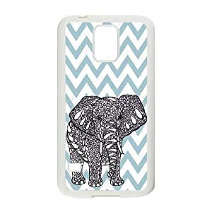 K9Y Chevron Wave Print Elephant Hard Case Back Cover Skin Protector with a Nice Gift ,TPU Phone case for SamSung Galaxy S5,white