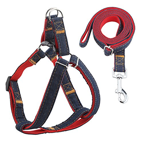 "URPOWER Dog Leash Harness Adjustable & Durable Leash Set & Heavy Duty Denim Dog Leash Collar for Small, Medium and Large Dog, Perfect for Daily Training Walking Running (L(17""-27.5"" Chest Girth))"