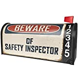 NEONBLOND Beware of Safety Inspector Vintage Funny Sign Magnetic Mailbox Cover Custom Numbers