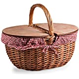 Picnic Time Country Picnic Basket with Red/White Gingham Liner