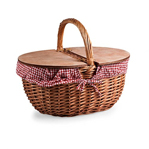 New Picnic Time Country Picnic Basket with Red/White Gingham Liner