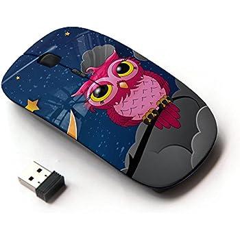 KOOLmouse [ Optical 2.4G Wireless Mouse ] [ Owl Pink Big Eyes Stars Night Sky Drawing Art ]