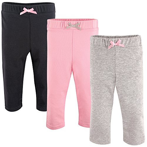 Luvable Friends Baby Girls' Leggings, 3 Pack, Light Pink/Black, 12-18 Months
