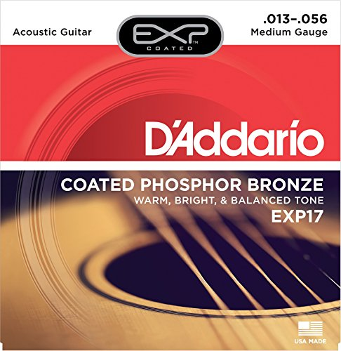 D'Addario EXP17x3 (3 sets) Acous Guit Strings, EXP Coated Phos/Brnz, Med (Exp Phos)