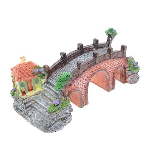 (Saim Aquarium Decor Simulation Resin Ancient Arch Bridge with Three Holes Pavilion Tree Rockery Garden Landscape Ornament Aquarium Underwater Fish Tank Decorations,)