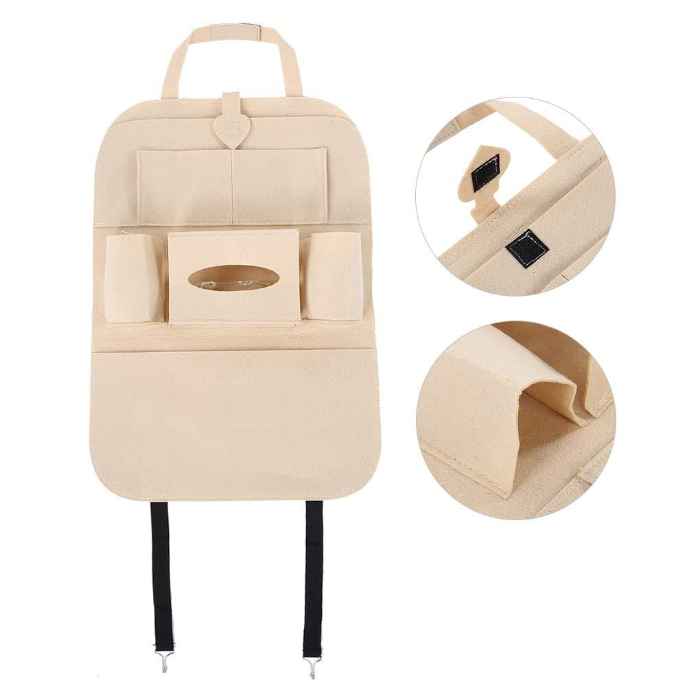 Universal Multi-pockets Car Rear Seat Storage Bag Organizer Holder Beige Car Rear Seat Organizer