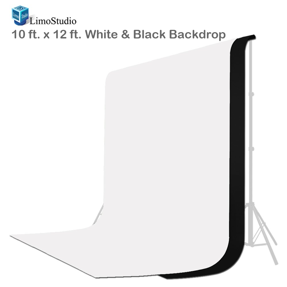 LimoStudio 10 ft X 12 ft Black & White Chromakey Photo Video Photography Studio Fabric Backdrop Background Screen, AGG1894