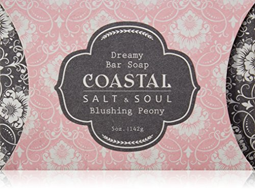 Coastal Salt & Soul, Natural Bar Soap, Super Hydration, with Pure Shea Butter, Olive Fruit Oil & Blue Lotus Extract, 5.0 oz., Blushing Peony