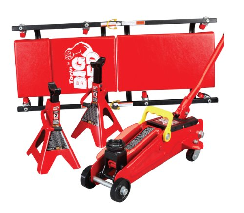 Torin Big Red Hydraulic Trolley Floor Jack Combo with 2 Jack Stands and Rolling Creeper, 2 Ton Capacity