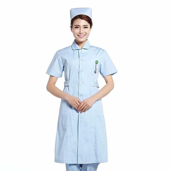 YISHIYI Enfermera Y Médico Usan Batas Blancas Y Ropa De Trabajo Ropa De Manga Larga De Belleza Farmacia, S, Azul: Amazon.es: Ropa y accesorios