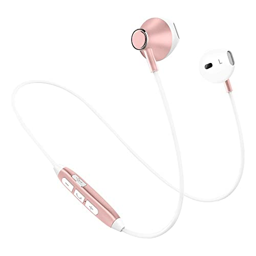 Wireless Headphones Bluetooth,Noise Cancelling Headphones,Lightweight HiFi Stereo Magnetic Earbuds Gym Headphones,HD Buit-In Mic,Tangle Free,Support 2 Devices,Sweatproof for Jogging,Running,Dancing (Sport Headphone-Rose Gold)