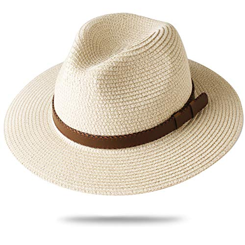 (FURTALK Panama Hat Sun Hats for Women Men Wide Brim Fedora Straw Beach Hat UV UPF Medium Size (22'-22.8'), Beige with Leather Belt)