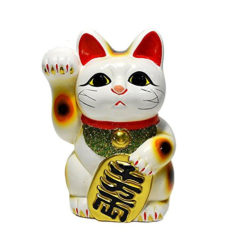 Made in Japan Lucky Cat 6.3'' Tokoname Porcelain White Maneki Neko Right Hand ()