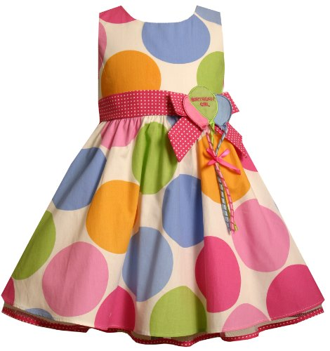 Bonnie Jean Little Girls' Multi Dot Birthday Dress