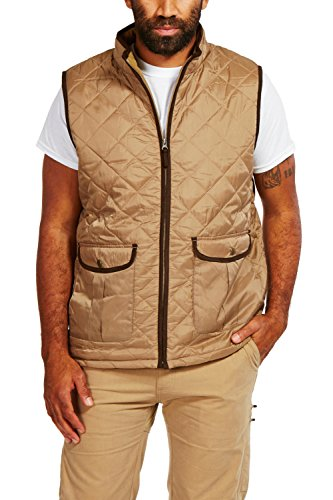 - Coleman Quilted Zip-Front Vest with Suede Trim and Fleece Lining (Medium, Driftwood)