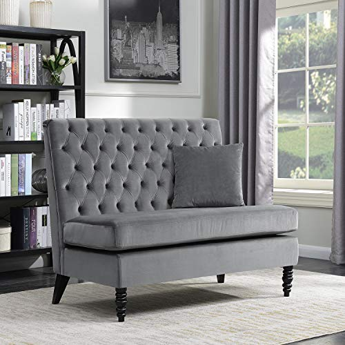 Belleze Modern Button Tufted Settee Bedroom Bench Loveseat Sofa Living Room Velvet, Gray Bedroom Living Room Sofa