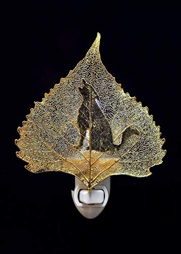 Coyote or Wolf Silhouette on Real 24K Gold Cottonwood Leaf Nightlight, Real Leaf Nightlight | Coyote - 24k Gold Cottonwood Leaf