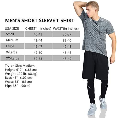 MEN'S SHORT SLEEVE ACTIVE T-SHIRT CREW STRETCH ATHLETIC PERFORMANCE TEES COOL QUICK DRY FIT FOR OUTDOOR WORKOUT RUNNING