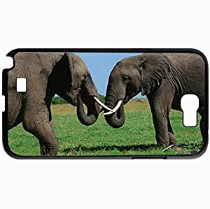 Personalized Protective Hardshell Back Hardcover For Samsung Note 2, Elephant Design In Black Case Color