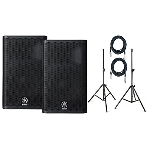 Pair Yamaha DXR12 12'' Powered Speaker, with Samson LS2 Speaker Poles (2) 20' XLR Cables & Pole Bag by Yamaha