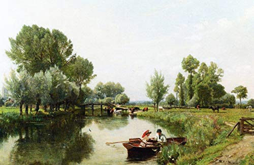 Frederick George Cotman Boating in The English Countryside 1884 Private Collection 30