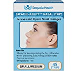 Nasal Strips (45 count) by Breathe-Ability - Relieves and Opens Nasal Passages - Relief of Snoring, Cold, Allergy, and Deviated Septum Symptoms (Small/Medium) by Sequoia