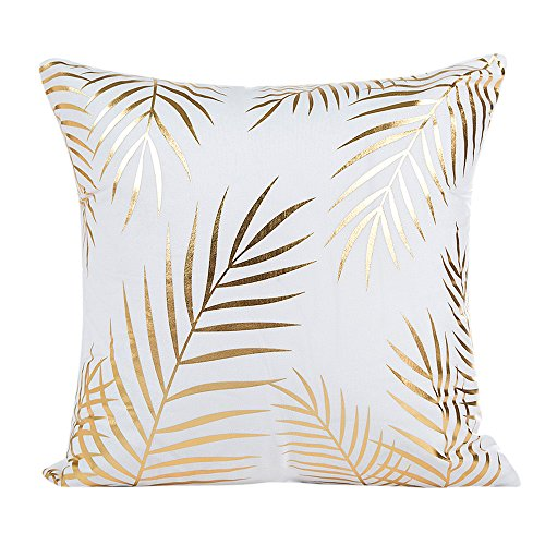 (GOVOW Home Decor Gifts Gold Foil Printing Pillow Case Sofa Waist Throw Cushion Cover)