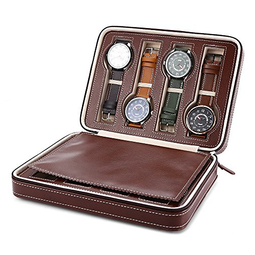 lot Watch Storage Display Box, PU Leather Watch Zippered Travel Box Watch Collector Case, Storage Organizer Padded Display Case for Men & Women as A Gift (8 Slot, Brown) ()