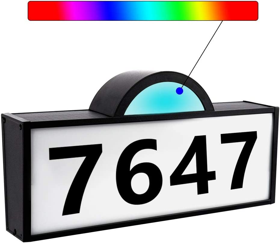 ROTTOGOON Solar Powered Address Numbers Signs, White/Warm+RGB Lights Illuminated House Numbers Plaque, IP65 Waterproof LED Lighted Outdoor Solar Address Sign for Home Yard Garden Street Mail Box
